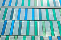 Abstract detail of office building with tinted glass cladding