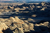 Overview of landscape in Badlands National Park, South Dakota