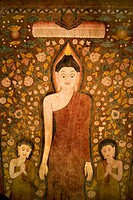 Buddha and two disciples on old temple cotton scroll from Thailand
