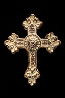 Ornamental religious cross against black background (thumbnail)