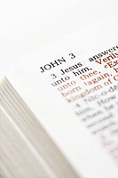 Selective focus of John 3 verses in open Holy Bible