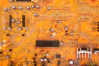 Orange circuit board detail