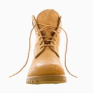One tan construction boot