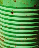 Closeup of metal green container