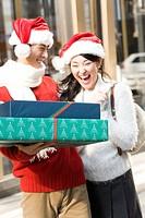 Japanese young couple enjoy shopping
