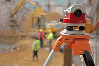 Close up of a total station surveying tool