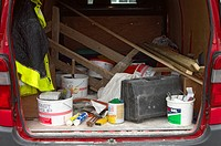 Builder's van with boot opened