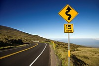 Curvy road sign in Haleakala National Park, Maui, Hawaii