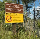 Alligator safety sign in Everglades National Park, Florida, USA