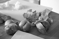Black And White, Chopped, Close_Up, Covering, Cutting Board, Edible