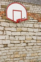 Basketball, Basketball Hoop, Board, Brick Wall, Bricks