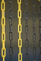 yellow, bright, black, hanging, iron, barrier