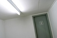 rest room sign, tube light, indoors, public rest room