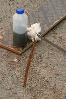 bottle, mixture, chemical, iron, rod, cotton
