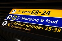 Arrow Sign, Glow, Entrance, Directional Sign, Airport