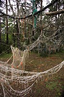 Ropes, Nets, Forest, Outdoors, Day