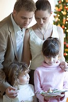 Portrait of a family next to christmas tree (thumbnail)