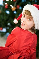 girl in Santa Claus suit