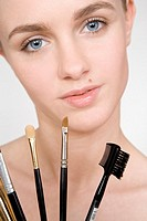 young woman with brush set