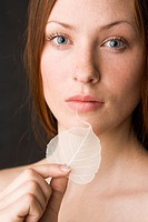 Beauty woman with leaf (thumbnail)