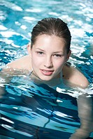 young woman in the swimming pool