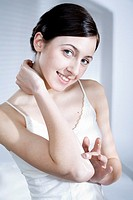 young woman creaming elbow