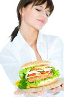 young woman with hamburger