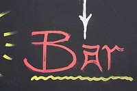Close_Up, Bar, Chalk, Blackboard, Black, Arrow Sign