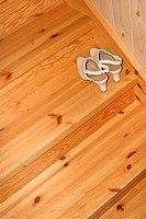stairs, steps, wood, wooden, sandals, shoes