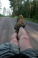 feet, legs, boots, sitting, pose, highway