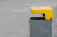 containers, trash can, basket, garbage, dustbin, yellow