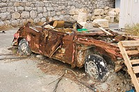 Brown, Damaged, Crate, Car, Abandoned