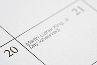 Close up of calendar displaying Martin Luther King Junior Day