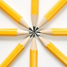 Sharp pencils arranged in a symmetrical radial star shape
