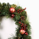 Still life of Christmas wreath