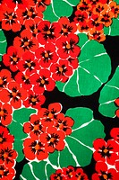 Close_up of vintage fabric with vibrant red geraniums and green leaves printed on polyester