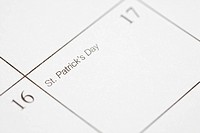 Close up of calendar displaying Saint Patricks Day
