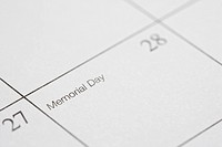Close up of calendar displaying Memorial Day.