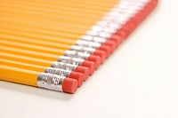 Eraser ends of group of pencils lined up in an even row