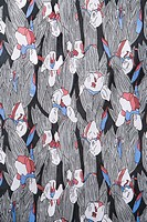 Close_up of vintage fabric with abstract flowers printed on polyester