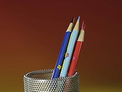 school stationery, pencil holder, stationery, business supplies, multi colored pencil, writing instrument, artifact