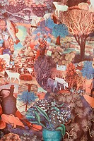 Close-up of vintage fabric showing chaotic combination of animals and nature printed on polyester (thumbnail)