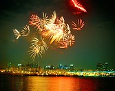 nightview, fireworks, building, city, event, scenery, river