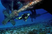 Female scuba diver under shipwreck, Cozumel, Mexico, Caribbean