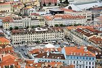 View of Praca Dom Pedro IV from Castelo de Sao Jorge, Lisbon (Lisboa), Portugal