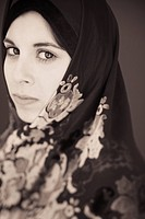 Middle Eastern teenager in headscarf