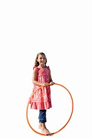 Girl with plastic hoop, smiling, portrait, cut out (thumbnail)