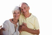 Senior couple holding hands, portrait, cut out (thumbnail)