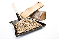 Wood pellets on Dustpan and logs, close_up