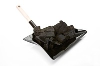Barbecue coal on Dustpan, close_up